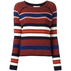 Tory Burch striped contrast knit sweater small